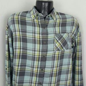 Prana organic cotton fleece top button up blouse